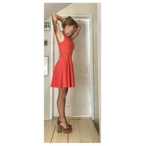 Knee Length Coral Dress with Heart Cutout